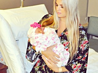 Stephany Bowman wearing Pink Blush Maternity Robe
