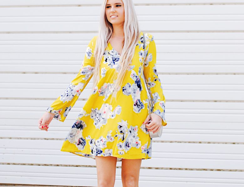 Stephany Bowman, Editor of Stephany's Choice Blog wearing a bright yellow PinkBlush Dress with Bell sleeves, light grey Topshop booties and Sunflower cat ears from Forever21