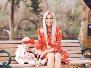 Stephany Bowman, Editor of Stephany's Choice is wearing red floral dress for Valentine's Day from Topshop at Nordstrom and pink mules from ASOS