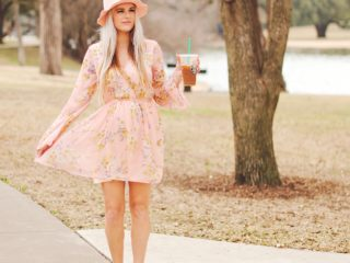 Stephany Bowman WearingBand Of Gypsies Floral Print Surplice dress from Nordstrom, and Steve Madden shoes