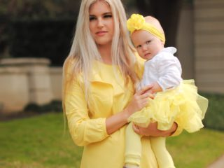 Stephany Bowman Editor of Stephany's Choice wearing a yellow ruffled dress from ZARA Spring 2017 collection. Yellow heels from Diesel. Angelina Bowman is wearing a yellow tutu pant from BABY GAP, white blouse from ZARA KIDS and yellow floral headband from Claire's.