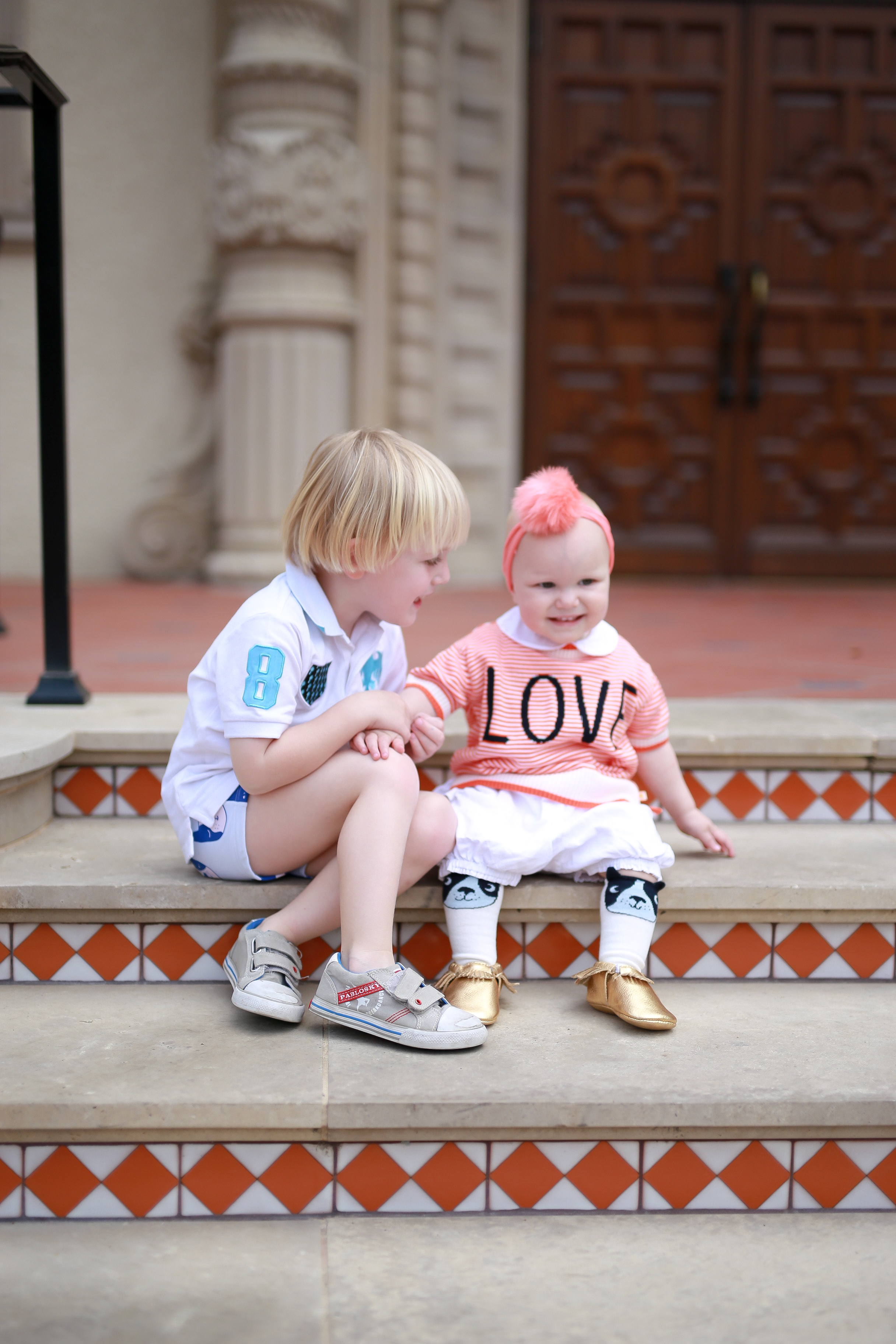 Alexander and Angelina Bowman wearing Ollie and Mae