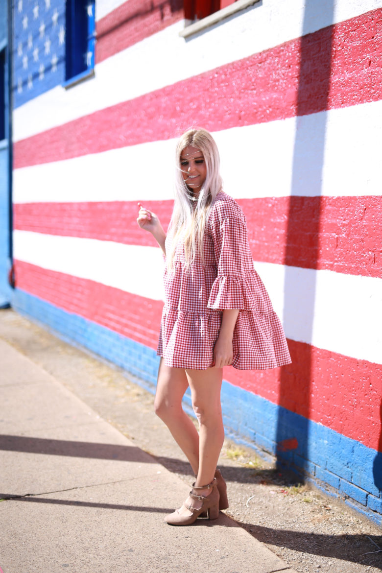 Stephany Bowman Wearing a ZARA Gingham Dress and ALDO beige Mary Janes