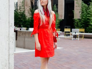 Stephany Bowman, Editor of Stephany's Choice, wearing a red H&M off the shoulder dress, Aldo beige buckle high heels, and a red Dolce and Gabana bag