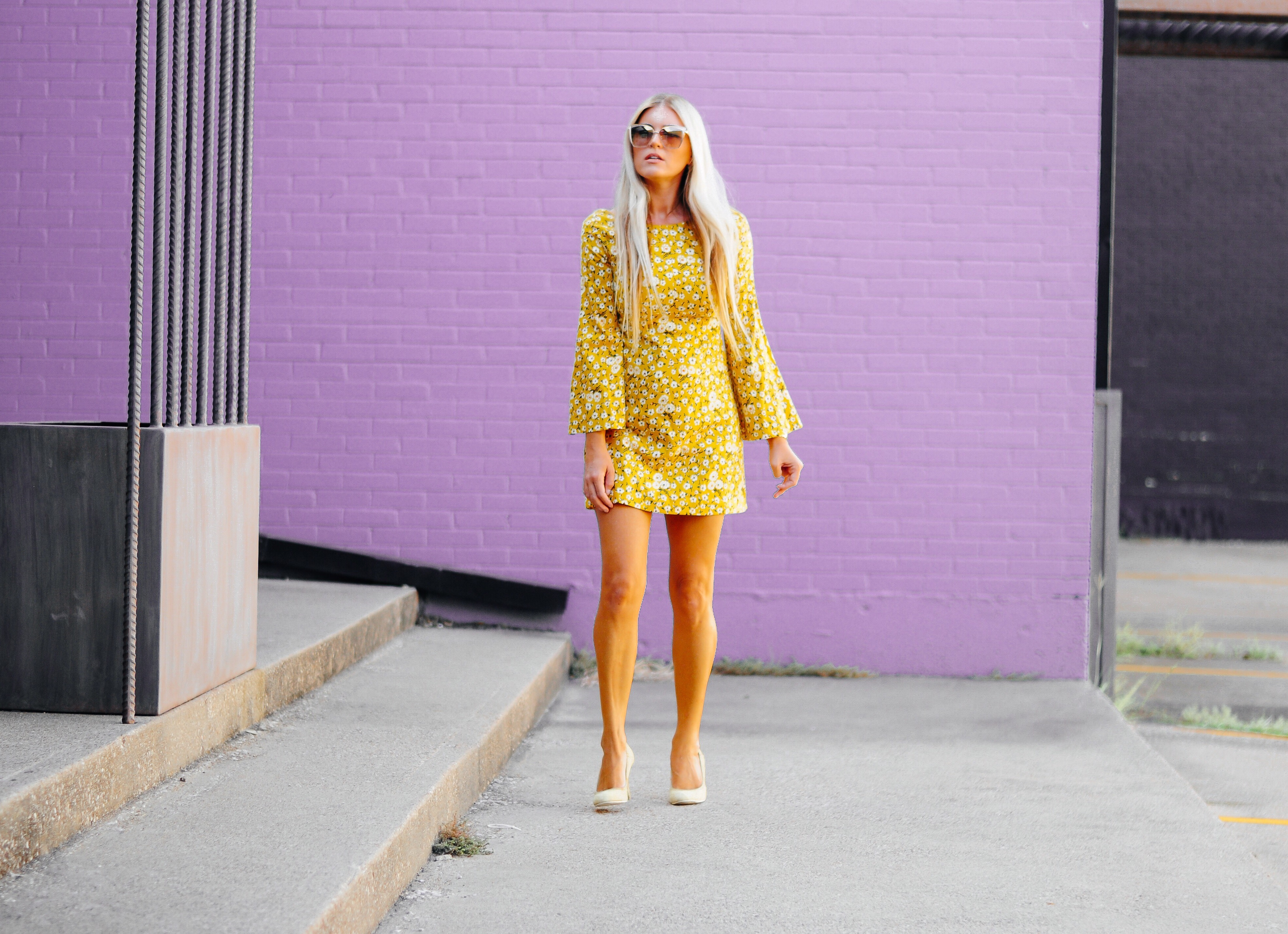 Stephany Bowman wearing Yellow ZARA dress, Diesel high heels, and Gold sunglasses from DIFF Eyewear