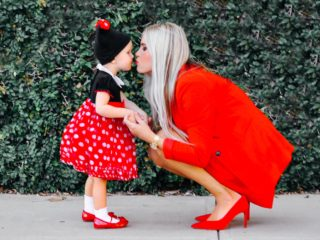 Stephany Bowman Editor of Stephany's Choice in Red red, blazer and suede high heels. Angelina Bowman in Red Minnie Mouse dress and hat from Disney, socks and shoes from GAP