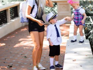 Stephany Bowman wearing ASOS overalls, Gold Converse sneakers, GAP basic white tee, and Kute 'n' koo diaperbag, Angelina Bowman wearing Janie + Jack, Alexander in TARGET