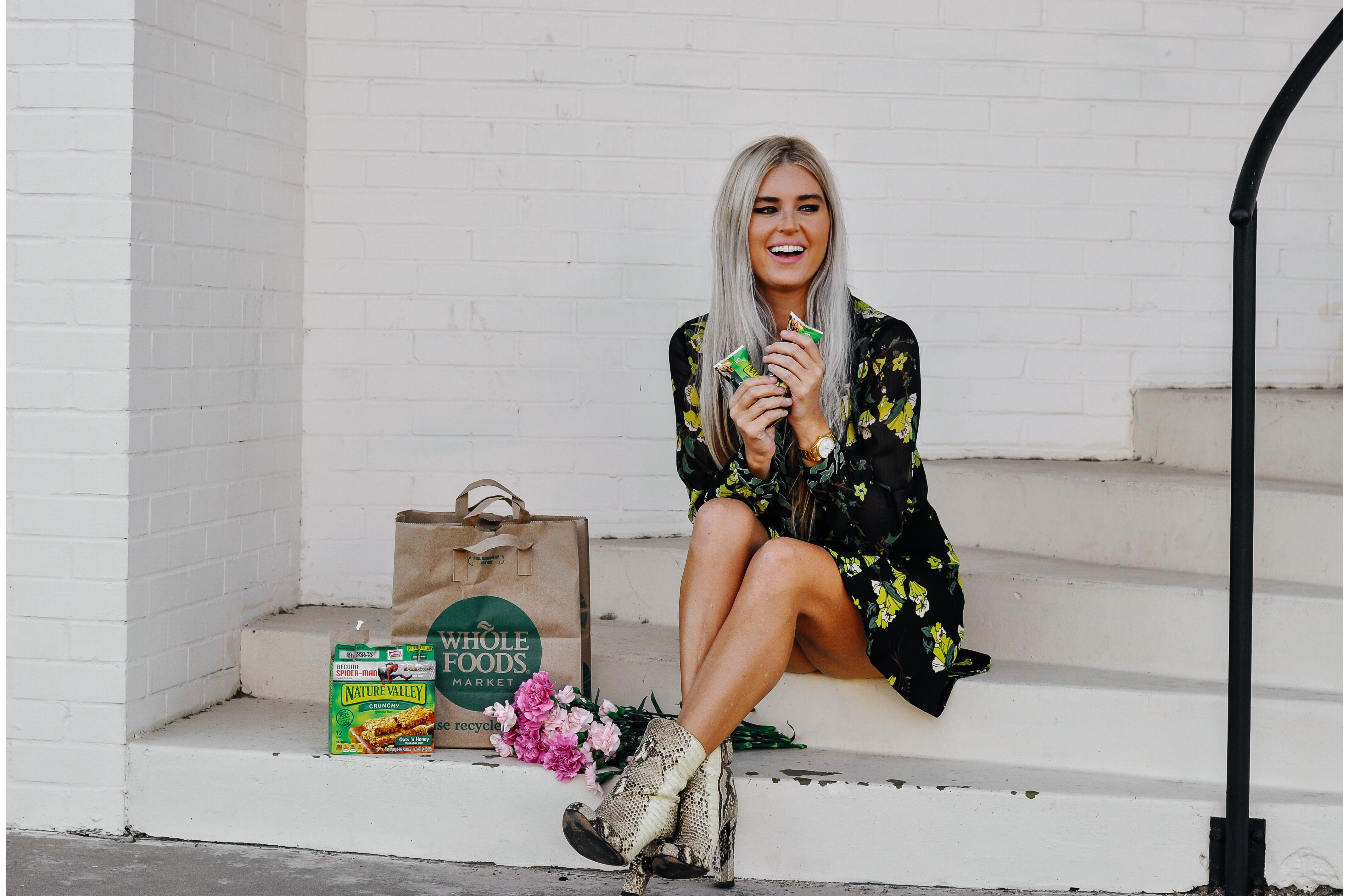 Stephany Bowman wearing WHO WHAT WHERE from Target and ZARA snake skin booties