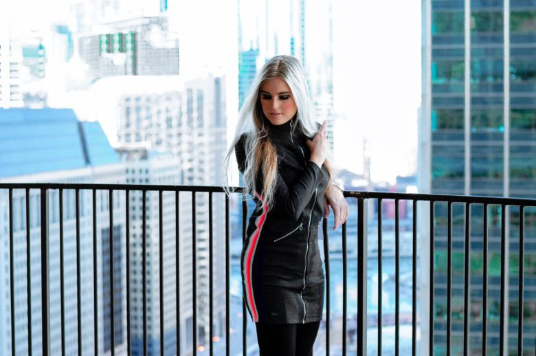 Stephany Bowman wearing a Lacoste tunic dress and Lulu Lemon leggings in Chicago